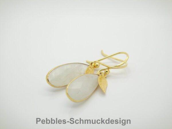 Romantik!! Ohrringe weißer Mondstein 925 vergoldet