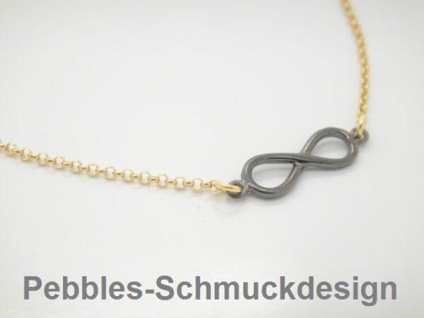 Pebbles-Design! Kette Black Infinity 925 vergoldet