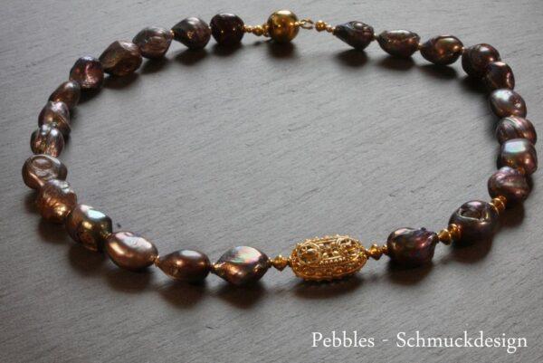 Perlencollier...edles Grau 925 vergoldet