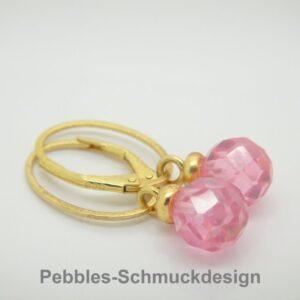 PUR!! ..Zirkonia Ohrring zart pink  925 vergoldet