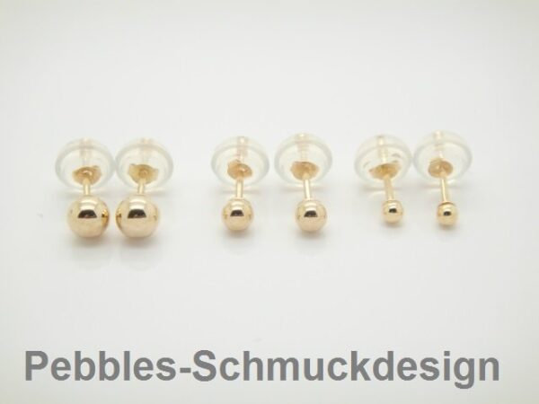 Ohrstecker...3mm glänzende Kugel 585 Gold