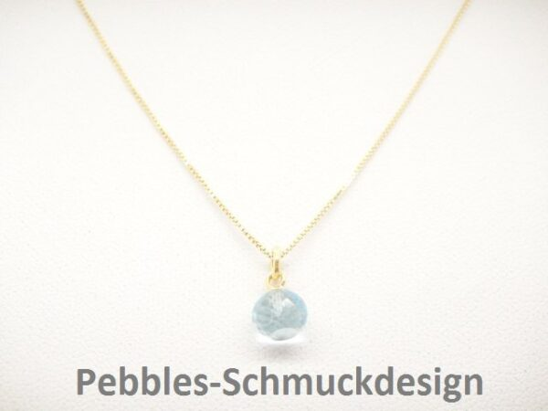 Tiny Pebbles!  zarte Kette blue Topas  925 verg.