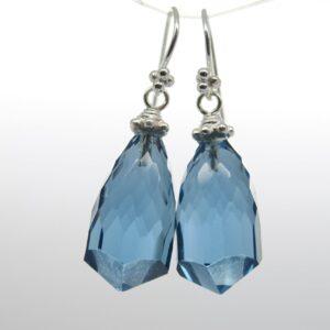 Edel! Ohrhänger London blue Quarz 925 Silber