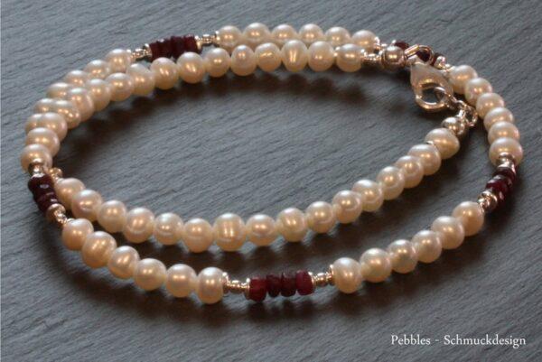 Perlenkette..edel & zart mit Rubinen 925 Silber