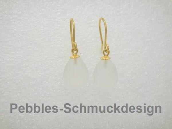 Bergkristall geeist...585er Gold Ohrringe