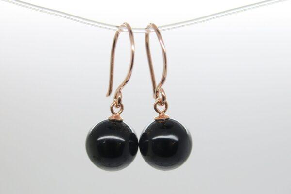 PUR & Edel..Ohrhänger schwarzer Onyx 925 rosè verg