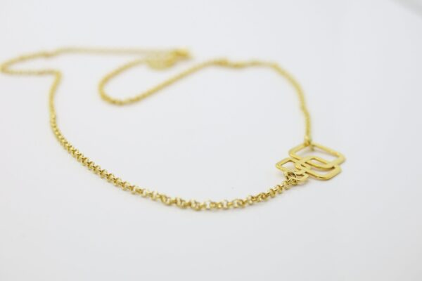 Square... edle Halskette 925 Silber & geschwärzt