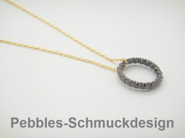 Endless & black! Halskette pur  925 vergoldet