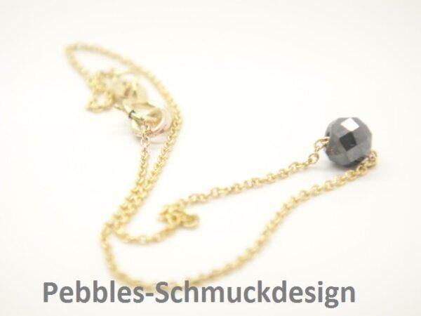 Edel! zartes Armband 585 Gold & schwarzer Diamant
