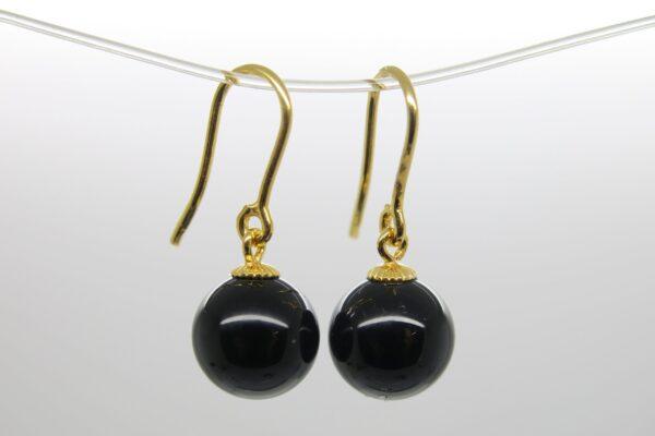 PUR & Edel...Ohrhänger black Onyx 925 Silber verg.