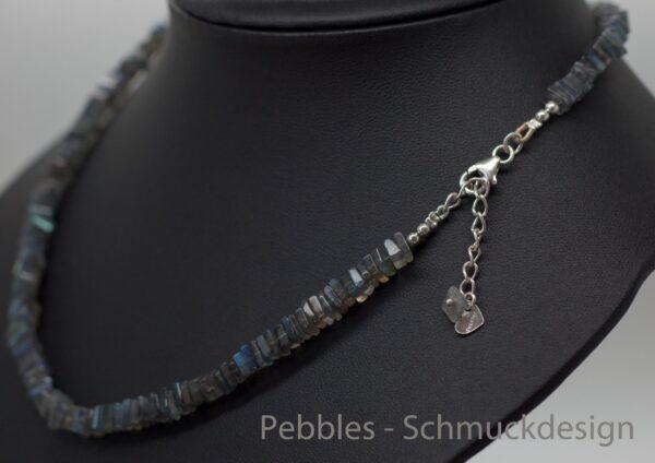 Square Labradorith...Kette mit blauem Schimmer