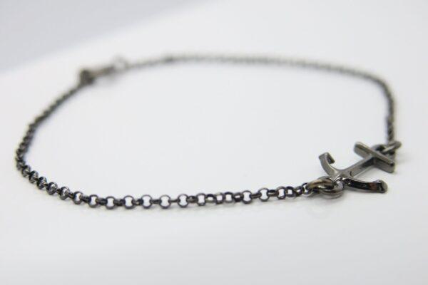 Side Anchor..zartes Armband 925 schwarz ruthiniert