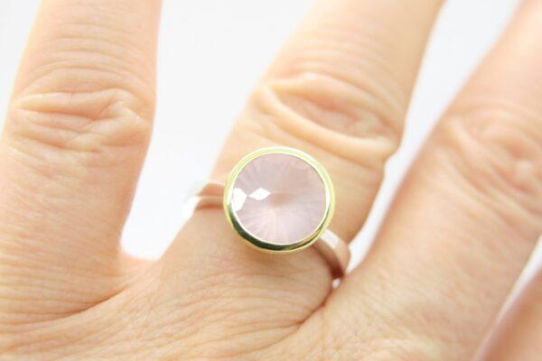 Rosenquarz...edler Ring 925 Silber/vergoldet