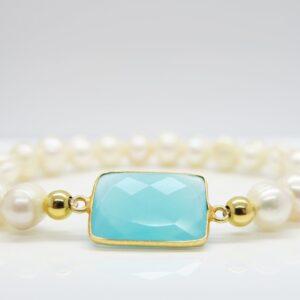 Perlen &  Chalcedon...edles Armband sea blue