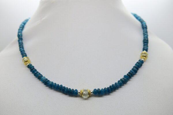 Glamour...feine Kette Apatit  dark blue 925 verg.