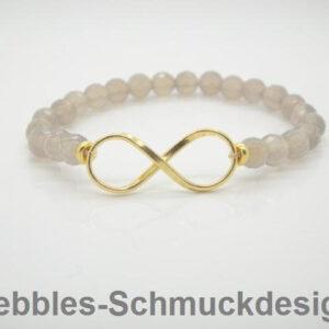 Infinity! Armband grauer Achat & 925 vergoldet