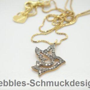 Edel! zarte Kette Swallow 925 verg. &  Diamanten