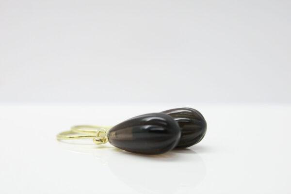 Rauchquarz... Einhänger für Ohrhaken  585Gelbgold