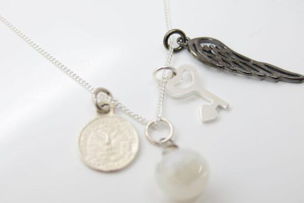 Sammelkette... Black Angel, Liberty & Key 925 Sil