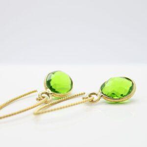 Green Drops...schöne Kristall Ohrringe 925 verg.