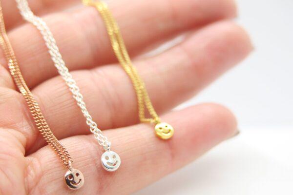 Smiley:-) gaanz zarte Kette 925 Silber & vergoldet