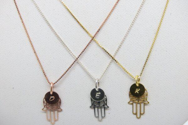 Hamsa! zarte Halskette 925 & Wunschbuchstabe