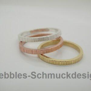 Trio! zarte Ringe in 925 Silber &  vergoldet