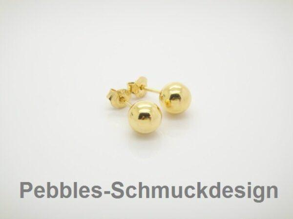 Punkt! Ohrstecker 5mm 925 Silber vergoldet