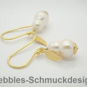 Romantik! echte Keshi- Perlen Ohrringe