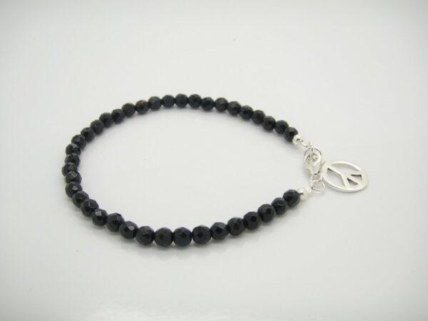 Peace! Onyx Armband 925  Silber