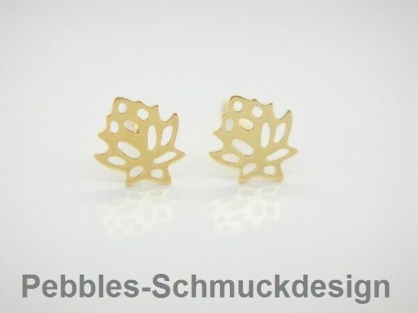 Tiny Lotus! zarte Ohrstecker 925 Silber vergoldet