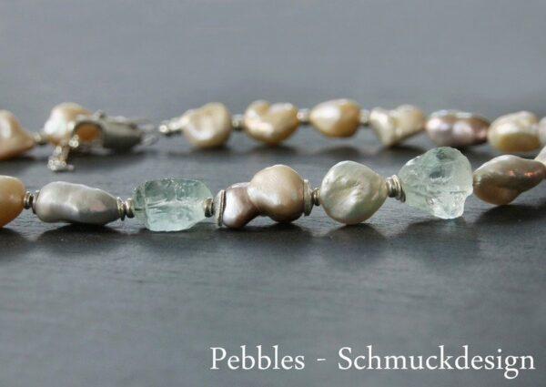 Perlen&Edelsteine...edles Collier ganz barock 925