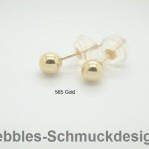 Ohrstecker...4mm glänzende Kugel 585 Gold