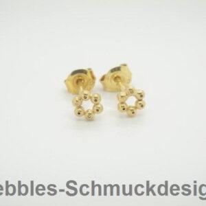 Pebbles-Flowers!! zarte Ohrstecker 925 vergoldet