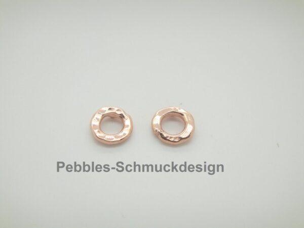 Pebbles-Donuts! Ohrstecker gehämmert 925 vergoldet
