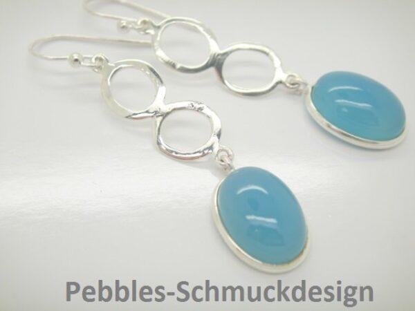 Himmelblauer  Chalcedon...edle Ohrringe 925 Silber