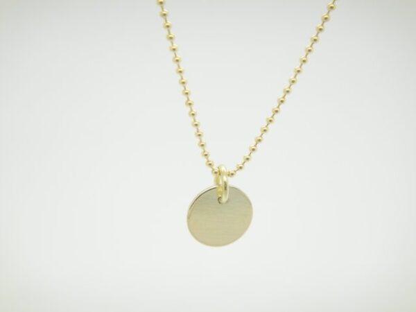 Punkt..zarte Halskette Plättchen in 333 Gelbgold