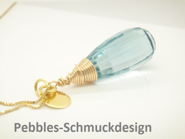 Statement! edle Kette  mit Blauquarz 925 vergoldet