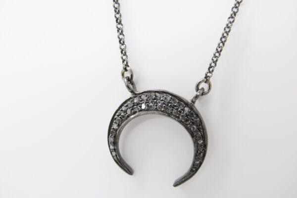 Diamond Moon! ganz edle Halskette 925 rutheniert
