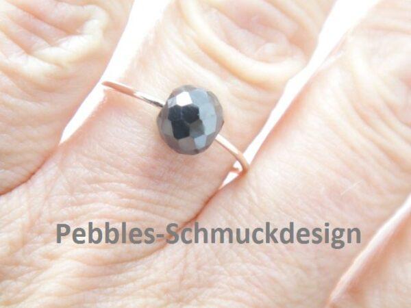 Black Diamond..585 Rotgold Ring mit großem Diamant