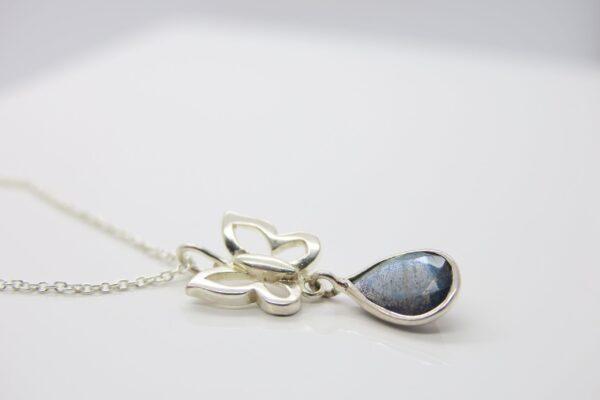 Butterfly...zarte Kette mit Labradorith 925 Silber