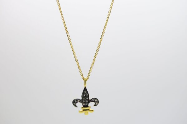 EDEL! zarte Kette 925 Fleur-de-Lis mit Diamanten