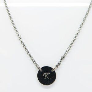 Black Punkt & Buchstabe  ...zarte Kette 925 Silber