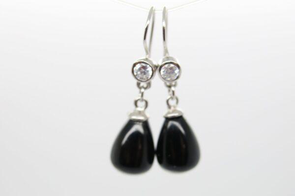 Schwarzer Onyx... funkelnde Ohrringe 925 Silber