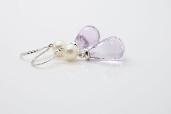 Amethyst & Perlen...edel 585er Weißgold Ohrhänger