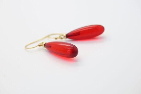 Bernstein Ohrhänger leuchtend rot 585/14K Gelbgold
