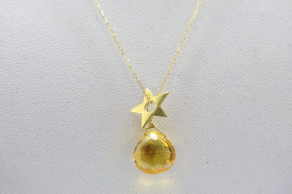 My Star..zarte Kette mit Stern & Citrin 585er Gold