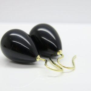 Statement...große schwarze Onyx-Ohrringe 925 verg.