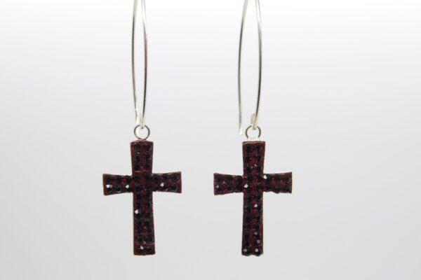 Dark red cross....glitzernde Ohrhänger 925 Silber
