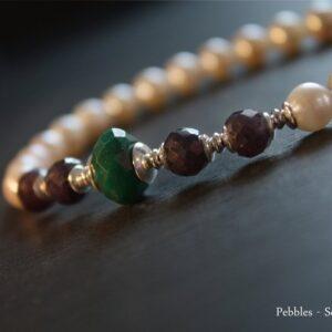Perlenzauberei...Perlenkette mit Edelsteinen 925